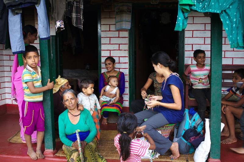 Rieko having a workshop in the Brahmin village